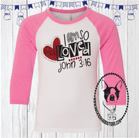 I Am So Loved John 3:16 Custom Shirt for Kids, 3/4 Sleeve