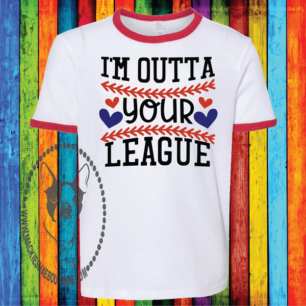 I'm Outta Your League Custom Shirt for Kids, Jersey Ringer Tee
