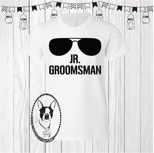 Jr. Groomsman (or can be changed) Custom Shirt for Kids, Short Sleeve