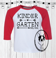 Kindergarten Arrows Personalized with Teacher's Name Custom Shirt, 3/4 Sleeve