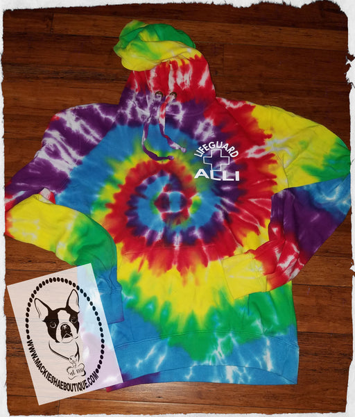 Lifeguard Personalized Tie Dye Custom Shirt, Multi-Color Spiral Pullover Hooded Sweatshirt