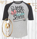 Little Miss Kindergarten {{Get any grade}} Custom Shirt for Kids, 3/4 Sleeve