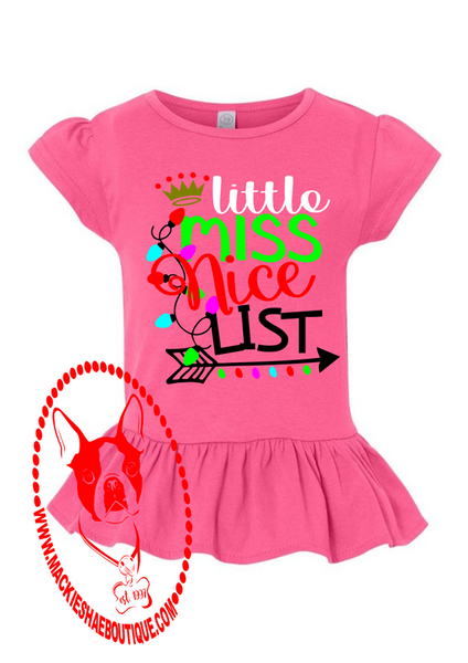 Little Miss Nice List Custom Shirt for Kids, Ruffle Tee