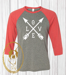 Love with Crossing Arrows Custom Shirt, 3/4 Sleeve