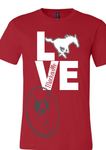 LOVE Macksville Mustangs Custom Shirt with Macksville Cut-Out, Short Sleeve