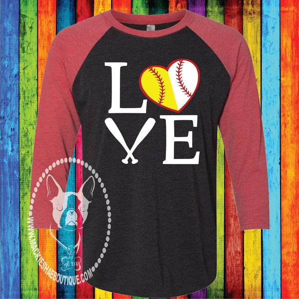 Love Baseball and Softball Custom Shirt, 3/4 Sleeve