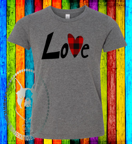 Love with Buffalo Plaid Heart Custom Shirt for Kids, Soft Short Sleeve
