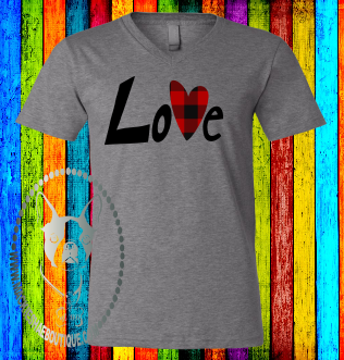 Love with Buffalo Plaid Heart Custom Shirt, Soft Short Sleeve