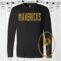 Mavericks Glitter Custom Shirt, Long Sleeve