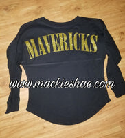 Mavericks Glitter Spirit Jersey Custom Shirt for Kids