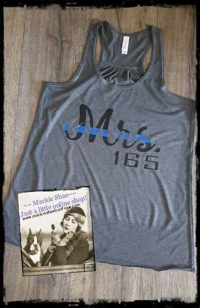 Mrs. BLUE LINE Custom Shirt, Racerback Tank