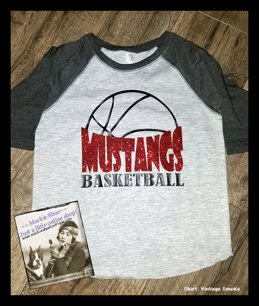 Mustang Basketball Custom Shirt for Kids, 3/4 Sleeve