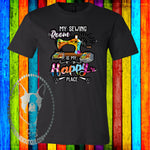 My Sewing Room is My Happy Place Custom Shirt, Soft Short Sleeve