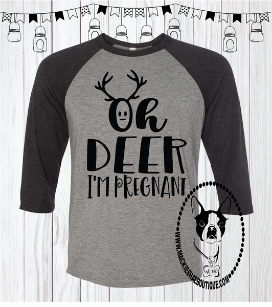 Oh Deer I'm Pregnant Custom Shirt, Soft 3/4 Sleeve Tee