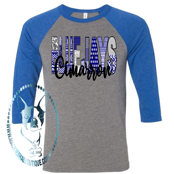 Cimarron BLUEJAYS Patterned Custom Shirt, 3/4 Sleeve