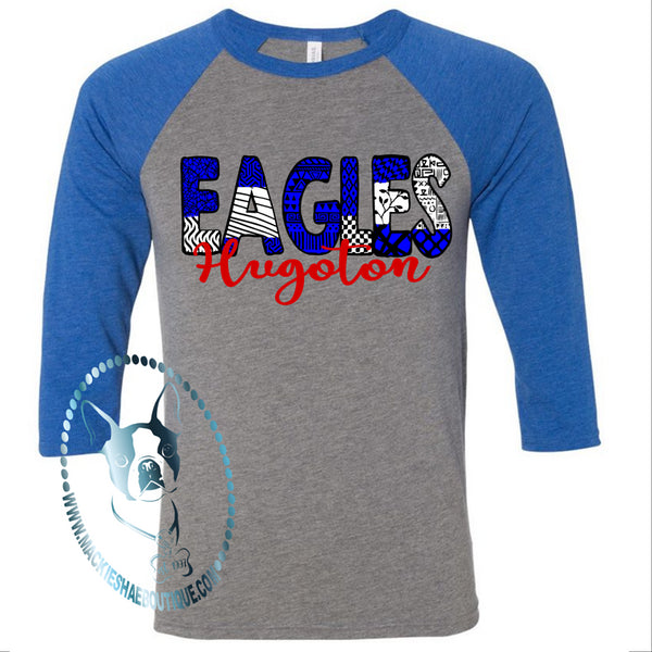 Hugoton Eagles Patterned Custom Shirt, 3/4 Sleeve