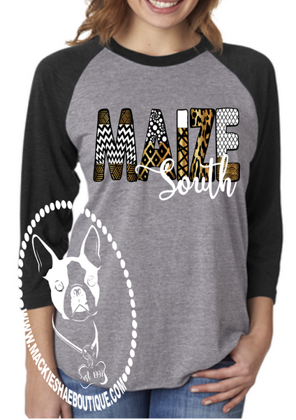 Maize South Patterned Custom Shirt, 3/4 Sleeve