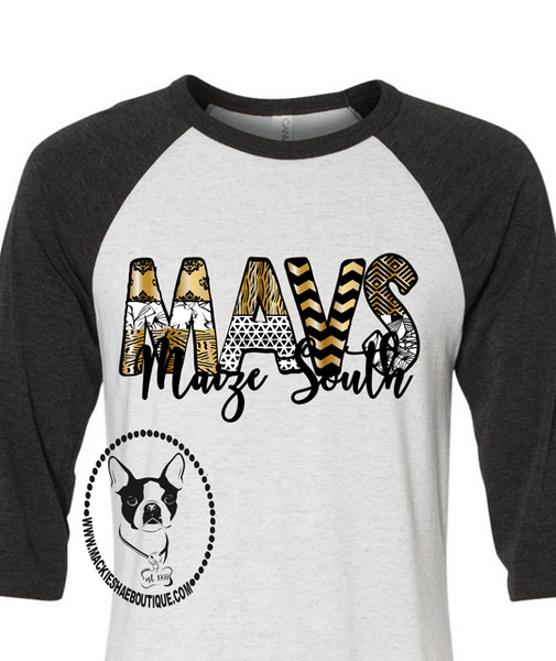 Maize South MAVS Patterned Custom Shirt, 3/4 Sleeve