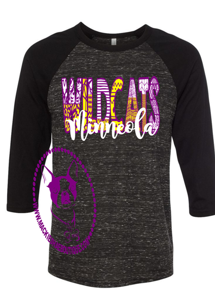 Minneola Wildcats Patterned Custom Shirt, 3/4 Sleeve