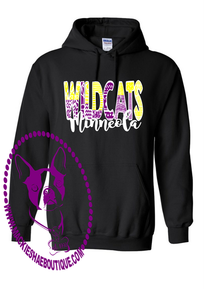 Minneola Wildcats Patterned Custom Shirt, Heavy Hoodie