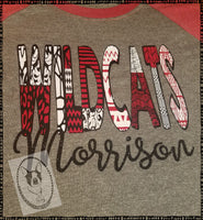 Morrison Wildcats Patterned Custom Shirt, 3/4 Sleeve