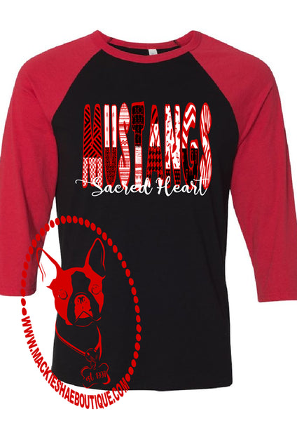 Sacred Heart Mustangs Patterned Custom Shirt, 3/4 Sleeve