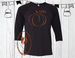 Orange Glitter Pumpkin Custom Shirt, 3/4 Sleeve