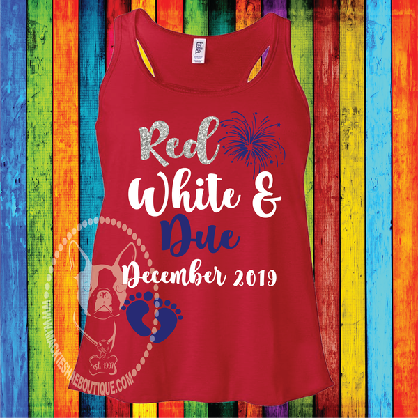 Red White & Due Fireworks Custom Shirt, Racerback Tank