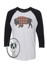 Bison with Buffalo Plaid Blanket Custom Shirt, Soft 3/4 Sleeve