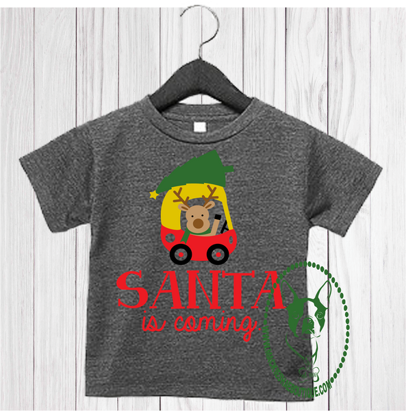 Santa is Coming Custom Shirt for Kids, Soft Short Sleeve