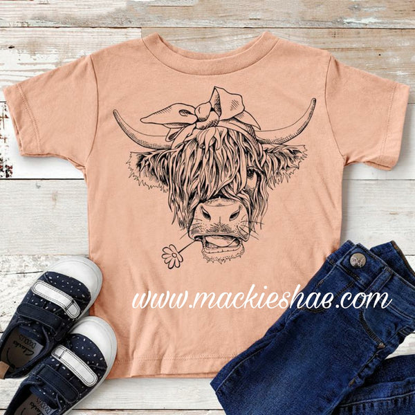Shaggy Cow Custom Shirt for Kids, Soft Short Sleeve