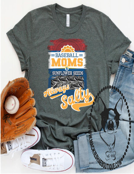 Baseball Moms Always Salty Custom Shirt, Soft Short Sleeve