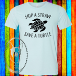 Skip A Straw Save A Turtle Custom Shirt, Soft Short Sleeve