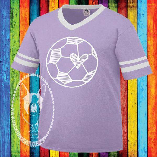 Soccer Ball Heart Custom Shirt for Kids, Jersey with Striped Sleeves