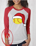 Softball Santa Hat Custom Shirt, 3/4 Sleeve