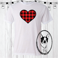 Red and Black Plaid Heart Custom Shirt, Soft Short Sleeve Sublimation