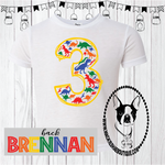 Dinosaur Birthday Custom Shirt for Kids, Short Sleeve
