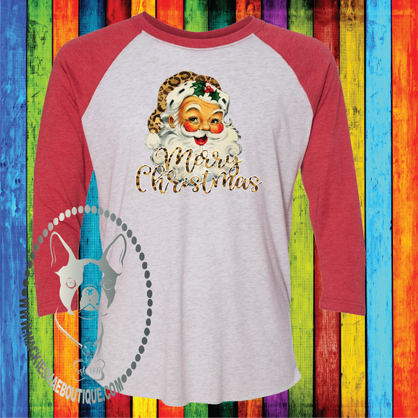 Merry Christmas Santa with Leopard Custom Shirt, 3/4 Sleeve Soft Tee