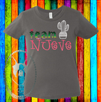 Team {____}  Serape with Cactus or Sombrero Custom Shirt for Kids, Soft Short Sleeve