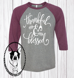 Thankful & Blessed Wheat Custom Shirt, 3/4 Sleeve