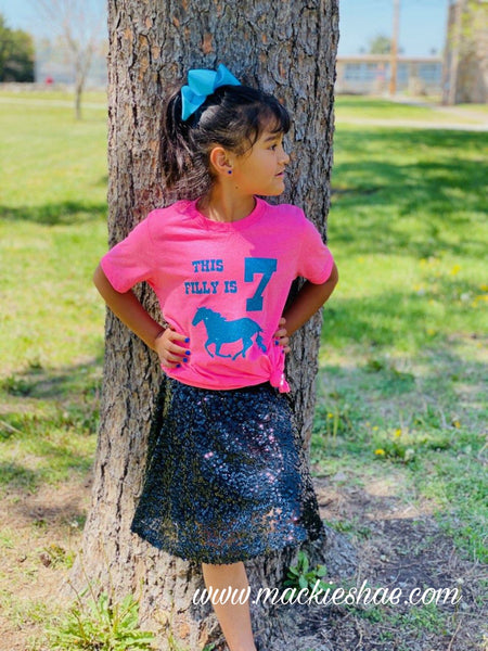 This Filly is (____)  Birthday Custom Shirt for Kids, Soft Short Sleeve