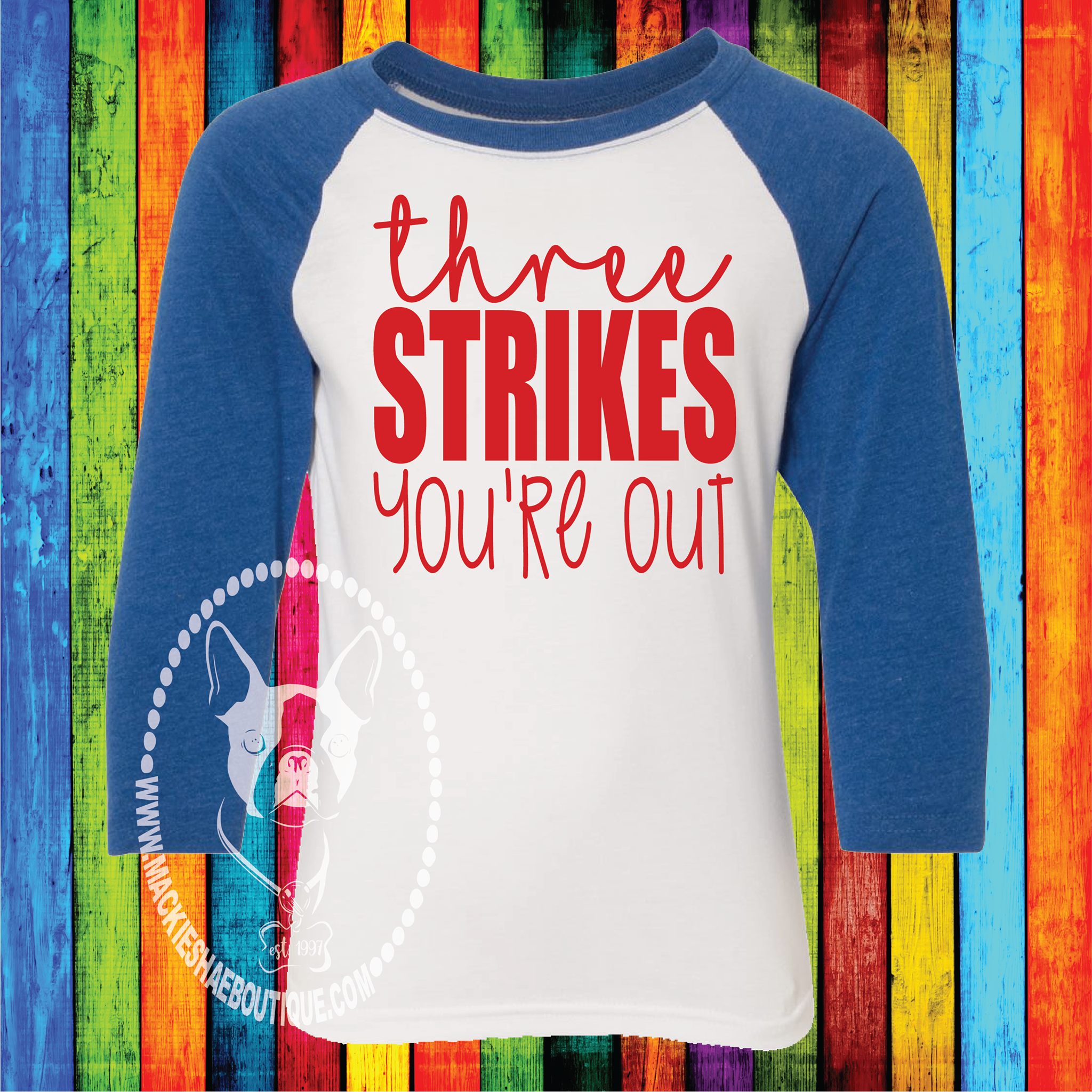 Three Strikes You're Out Custom Shirt for Kids, 3/4 Sleeve