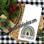 Merry & Bright Rainbow Custom Kitchen Towel