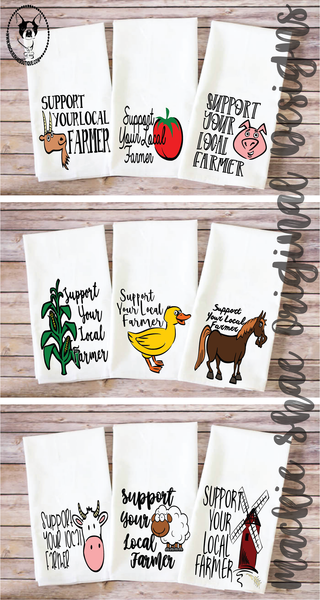Support Your Local Farmer Custom Kitchen Towel