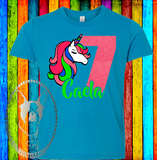 Colorful Unicorn Birthday Custom Shirt for Kids, Short Sleeve