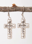 Amazing Grace Hammered Earrings, Silver