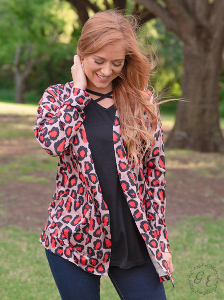 Red Leopard Cardigan with Pockets