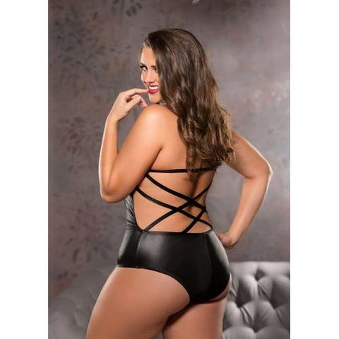 Strappy Teddy - Black - One Size Plus Size