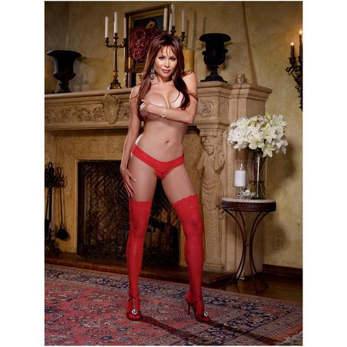 Stay Up Thigh Highs w/Lace Top Red QN