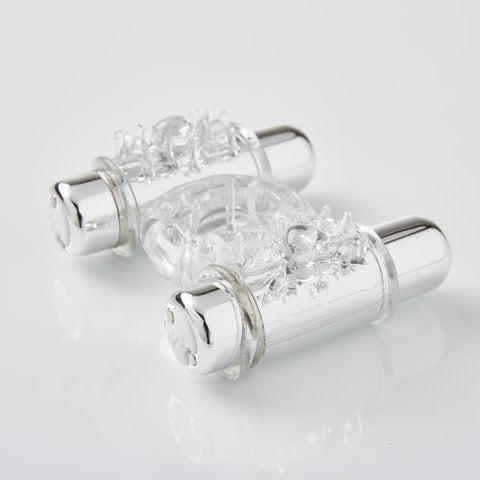 Sensuelle 7 Function Rechargeable Double Action Bullet Ring - Clear